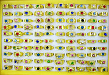 Wholesale Jewelry Lots 10pcs Rhinestone Gold Plated Rings Free Shipping
