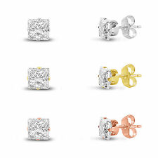 3 Pair Set 2x2mm 0.4ct TCW Sterling Silver Square CZ Stud Earrings in 3 Colors