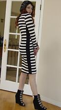Nordstrom Brand Black and White Stripe BODYCON Fitted Wiggle midi dress $189.00