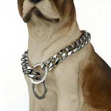 """15mm Heavy Silver 316L Stainless Steel Curb Cuban Link Dog Chain Collar 24"""""""