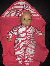 "Zebra Sleeper 15"" inch Doll Clothes Handmade to Fit American Girl Bitty Baby"