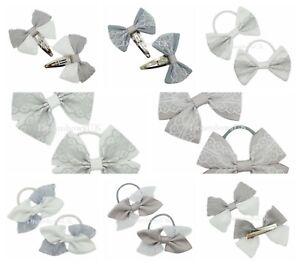 Grey and white grosgrain lace hair accessories, Hair bows, School hair bows