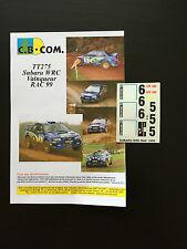 DECALS 1/24 SUBARU IMPREZA WRC JUHA KANKKUNEN RALLYE WALES RAC 1999 RALLY