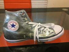 Converse Chuck Taylor All Star High Top Shoes Gun Metal/White SZ 9.5 M /11.5 WMN