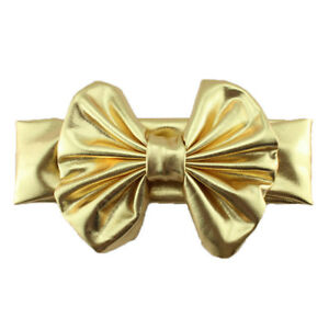 Baby Kids Girl Child Big Bow Faux Leather Stretchy Solid Headband Hair Head Band