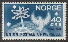 Stamp Norway Sc 0301 1949 Symbolical UPU Members 75th Anniversary Norge MNH
