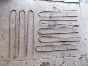 Lot of 8 Rebar Long Thick 6mm Steel Bar U Pin Peg Stakes Ref 2