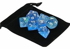 New Chessex Polyhedral Dice with Bag Sky Blue Borealis 7 Piece Set DnD RPG