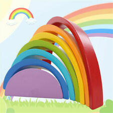 7 Colors Wooden Stacking Rainbow Shape Child Kids Educational Toy Gift