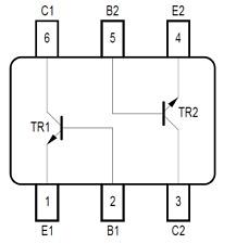 2x Transistor BC846U, dual matching pair NPN Bipolar, SC-74 Package, 100mA 65V