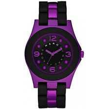 MARC JACOBS WOMEN'S PELLY BLACK SILICONE WRAPPED PURPLE ALUMINUM WATCH-MBM3505