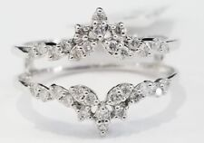 10k White Gold Finish Round Diamonds Solitaire Enhancer Wedding Guard Wrap Ring