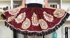 Cosplay Lolita Fantasy Gothic Red Wine Color Elegant Skirt wit Black Lce