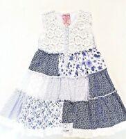 Cutey Couture Girls Blue & White Flower Summer Dress, Sizes: 2/3  4/5  5/6 years