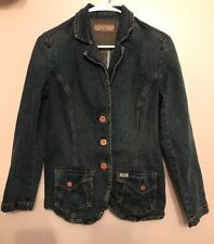 Levi Strauss Signature Women's Blue Jean Denim Blazer Jacket Size Small S EUC
