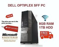 SFF DELL Optiplex DESKTOP TOWER PC COMPUTER WINDOWS 10 8GB RAM 1TB HDD WiFi PC