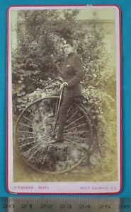 1880 CDV Carte De Visite Photo High Wheeled Bicycle Penny Farthing Sports London
