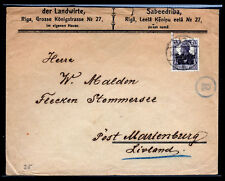 Latvia Cover - Lithuania Sc #1N7/Mi #7 German Occ Ovpt.: Postgebeit Ober-Ost