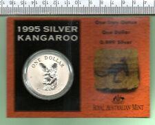 1995 AUSTRALIA CAPSULED AND CARDED OUNCE 99.99% SILVER KANGAROO
