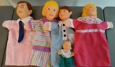 Hand Puppet Family Vintage Cloth And Vinyl Puppets Mom Dad Girl Boy Baby