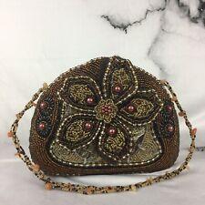 Vintage Look Handbag Dark Brown Beaded Brocade Clutch Clamshell Evening Formal