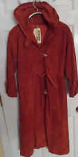 Vintage 1970's Ambe Rust Burnt Orange Hooded Long Suede Coat -- Womens 8/9 Boho!