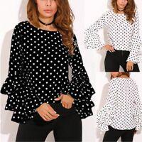 Womens Pagoda Long Sleeve Polka Dot Blouse Office Lady Business T-shirt Tops Top