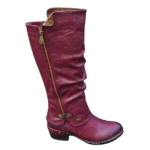 Women Round Toe Low Heel Buckle Motorcycle Casual Riding Knee High Boots 35/43 D