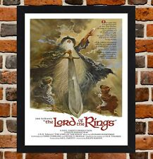 Framed The Lord of the Rings Cartoon Film Poster A4/A3 Size In Black/White Frame