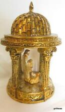 """Gold Dome Gazebo with Nativity Scene 6.5 x 3.5"""" Hand Painted"""