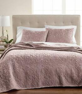 Martha Stewart FULL/QUEEN Quilt Velvet Flourish Quilted ROSE PINK Nwot