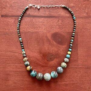 Graduated Hubei Turquoise Beaded Necklace Designer Jay King Mine Finds DRT 925