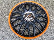 "4 Alu-Design Radkappen 15 Zoll ""Orden black/oranger Rand"" für Peugeot"
