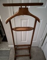 Wood Valet Clothes Stand Trouser Bar Jacket Hanger,Tray Organizer Vintage