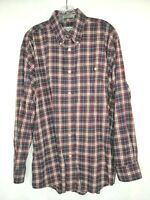 Orvis Mens Size Large Red White Blue Plaid Shirt Long Sleeve Button Front