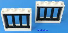 LEGO blanc/black Prison/Grille 1x4x3 Fenêtre / 2 Pièces