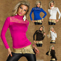 SEXY NEW WOMEN CLUBBING LONG SLEEVE POLO TOP LADIES BLOUSE SHIRT SIZE 6 8 10 12
