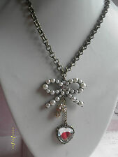NB002 Vintage Style Pearl Bow Heart Rhineston Ball Necklace *30