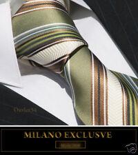 GREEN, BROWN, CREAM STRIPE SILK TIE - ITALIAN DESIGNER Milano Exclusive