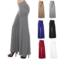 UK Women OL Office Loose Stretch High Waist Wide Leg Long Pants Palazzo Trousers