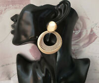 Beautiful 6.5cm long GOLD tone patterned double hoop - disc drop earrings