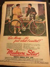 Original Malvern Star bicycles Ad 1940s Vintage Print Advertising Australiana L