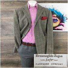 Ermenegildo Zegna Soft Windowpane Wool Cashmere sport coat blazer 48L