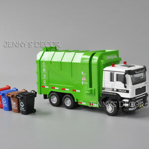1:50 Diecast Metal Garbage Truck Dumpcart Vehicle Model Pull Back Toy With S&L