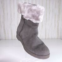 New Calistoga Gray Winter Boots Womens Size 11 Vegan Suede Faux Fur Lined