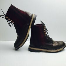 Woolrich Millwright Leather Wingtip Red Buffalo Plaid Boots Men's Size 8.5 D NEW