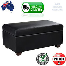 Black Ottoman Storage Chest Box Faux Leather Seat Footrest Toy Chest