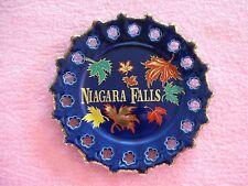 "Niagara Falls Coblat Blue Plate w Leaves Brushed Gold Trim Scalloped Edge 7 1/4"""