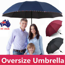 New 125CM Large Folding Umbrella 10Ribs Windproof Anti-UV Compact Black/Red