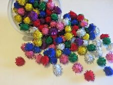 """Glitter Sparkle Twinkle Pom Balls LOT OF 12 Cat & Kitten Toy 1"""" Assorted Colors"""